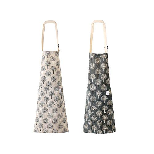 2 Pieces Cotton Linen Cooking Apron Adjustable Kitchen Aprons for Women with Pockets for Cooking Grill Baking