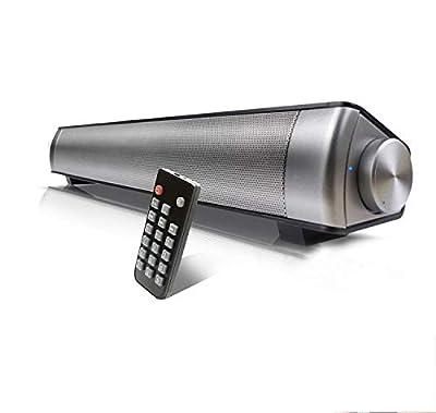 TV Sound Bar Wireless Bluetooth Speaker Soundbar LP-08 Channel 2.0 With Built-In Subwoofer Remote Control Support Optical/AUX/TF Card/USB(Black) by Qsportpeak