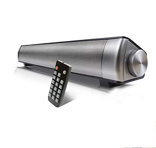 Barra de Sonido, QSPORTPEAK Barra de Sonido para TV Bluetooth Altavoces de computadora - Conexión por Cable e inalámbrica de 10W Bluetooth 5.0, Barras Sonido Soporte TV/Tarjeta TF/AUX/BT Modos