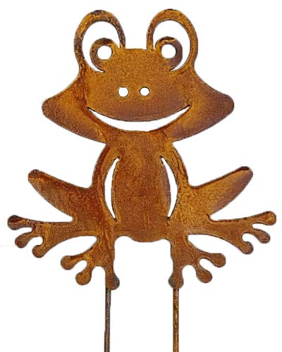 Bornhöft Gartenstecker Frosch Beetstecker Topfstecker Metall Rost Gartendeko Edelrost rostige Dekoration 20cm