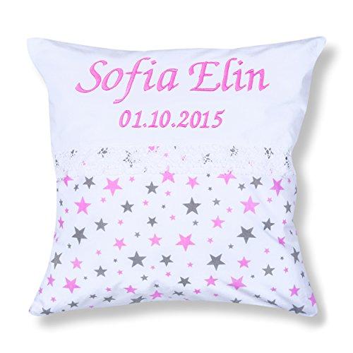 Amilian® Kissen 40 x 40 cm mit Namen Datum Sternchen KLEIN Rosa