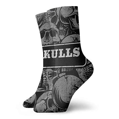 Socks Calcetines Schwarze Schädel Muster Calcetines cortos unisex para adultos que absorben la humedad atléticos para correr, fitness, viajes, trabajo