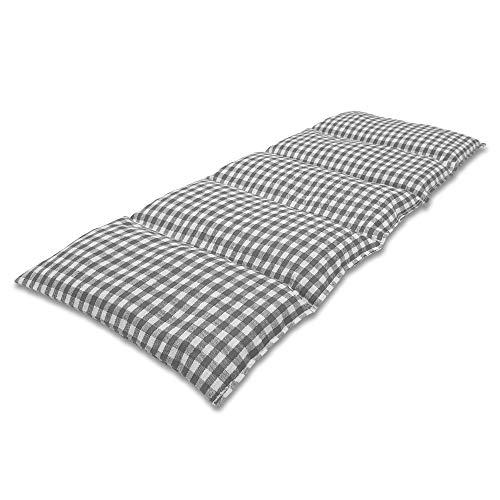 Cuscino Termico flessibile con Noccioli di Ciliegia 50x20 cm - Prodotto in Germania - Imbottitura: 900 grammi di Ossi di Ciliegia; Fodera: 100% Cotone (grigio a scacchiera)