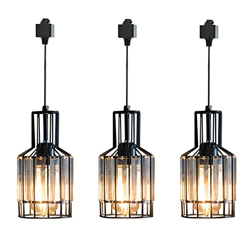 SKIVTGLAMP Circular Dimmable Pendant Light H-Type Track Light Pendants Clear Crystal Lamp Shade Track Mount Pendant lights Industrial Vintage Stytle Customizable Iron Halo Track Pendant 3 LIGHT,11.8in