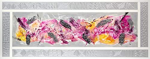 Cuadro Pintado Abstracto Moderno, Fucsia 150x60 cm con Marco Plata Pintado en el Lienzo y Piedras Brillantes, 100% Original