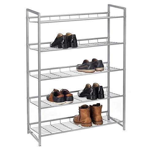CARO-Möbel Schuhregal System Schuhständer Schuhablage mit 5 Fächern für ca. 20 Paar Schuhe, Metall Silber lackiert