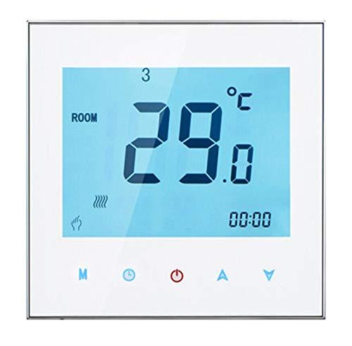 Rayber Termostato programable, termostato digital, termostato de calefacción, pantalla táctil LCD programable para calefacción por suelo radiante, calentador de agua, 5 A, 110-230 V.