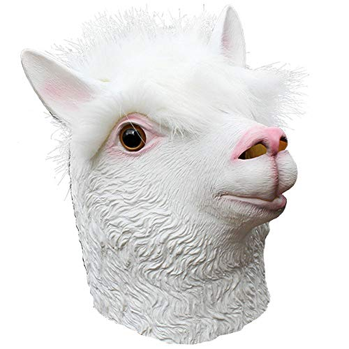 Beautyrain Halloween Horror Silikon DIY Maskerade Requisiten Tier Alpaka Maske spielt Gesichtsmasken