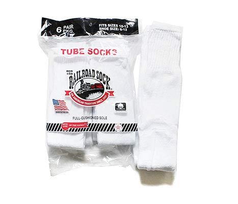 [レイルロードソック] チューブソックス 靴下 6P TUBE WHT (MEN'S 6 PAIR TUBE-SOLID WHITE (6075)) メンズ FREE 1.ソリッドホワイト(チューブ) [並行輸入品]