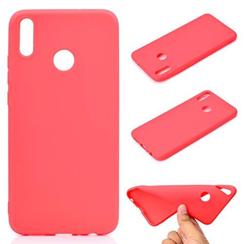 LeviDo Coque Compatible pour Huawei Honor 8X Étui Silicone Souple Bumper Antichoc TPU Gel Ultra Fine Mince Caoutchouc Bonbons Couleurs Design Etui Cover, Rouge