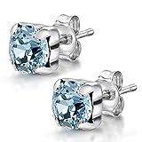 Amberta Joyas - Pendientes de botón en Plata de Primera Ley 925 con Auténticos Cristales de Swarovski para Mujer - Cristal Xirius Chaton en Aguamarina - Hipoalergénicos
