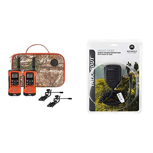 Motorola Talkabout T265 Rechargeable Two-Way Radio Bundle – Orange & Motorola 53724 Remote Speaker Microphone (Black)