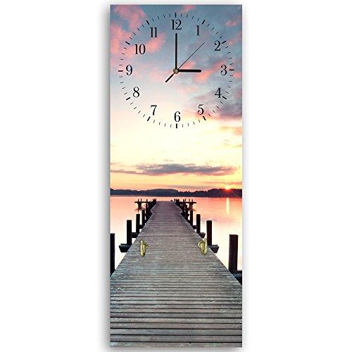 Feeby, Wanduhr mit Kleiderhaken, mehrfarbige Deco Panel Bild mit Uhr, 30x90 cm, Steg, See, Wasser, Sonnenuntergang, Aussicht, Landschaft, Natur, VIOLETT, BRAUN