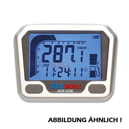 ACE-3150 Multifunktionelles Motorrad Digitalinstrument silber, Tacho-Drehzahlmesser, Uhr-Tankanzeige/Stück