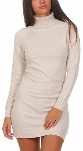 Fashion4Young 11392 Damen Feinstrick Pullover Strickkleid Strickpullover Rollkragen Minikleid Rollkragenpullover (S/M=34/36, beige)