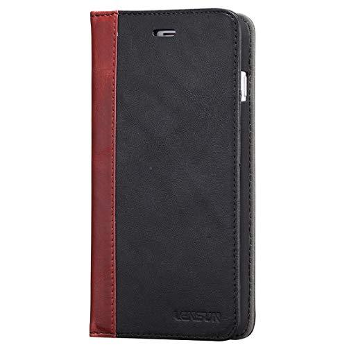 Lensun Cover iPhone 7 Plus, Cover iPhone 8 Plus, Vera Pelle Cuoio Custodia Genuio Annata a Portafoglio con Coperchio Apribile per iPhone 7/8 Plus 5.5' - Nero (7P-FG-BK)