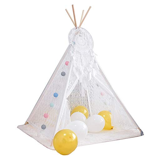 YLJB Kids Play Tent Kids Teepee Tent 100% Natural Cotton Canvas For Girls And Boys Childrens Room Decor Children's Play House (Color : White, Size : 120x120x160cm)