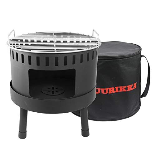 MUURIKKA Notski Picknick tragbarer Kohlegrill, 34 cm, mit Tragetasche, schwarz & kompakt, Outdoor & Wanderung