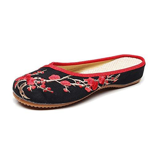 KINDOYO para Mujer Bordado Mary Jane Zapatos - Damas Casual Viejo Pekín Zapatos