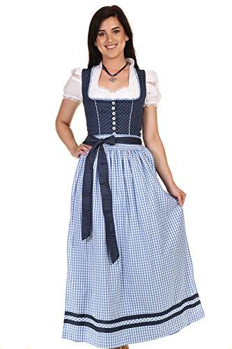 Turi Landhausmode Damen Dirndl lang klassisches Dirndl Baumwolle D821070 Heidi Rocklänge 95cm Marine Gr.44