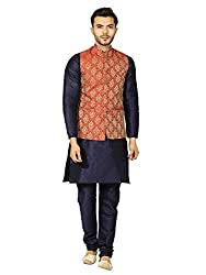 Uri and MacKenzie Mens Navy Blue Kurta Pyjama with Maroon Jacket