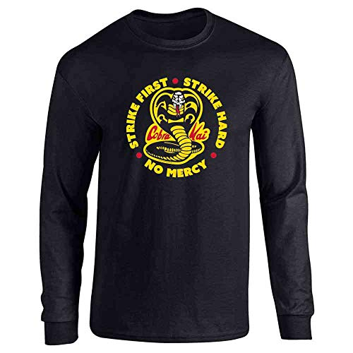 Cobra Kai Motto Circle No Mercy Karate Kid Black M Full Long Sleeve Tee T-Shirt