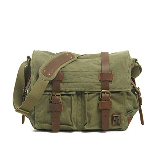 Canvas Leather Men Messenger Bags Big Satchel Shoulder Bags Male Laptop Briefcase Travel Handbag (Color : Green)