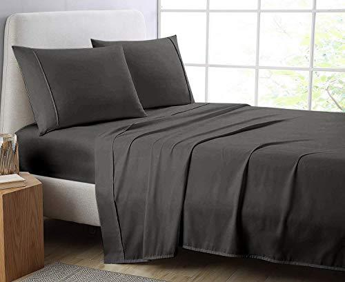Comfort Beddings Bettlaken, schwere Qualität, Fadenzahl 600, 100 % ägyptische Baumwolle, Bettlaken für Doppelbett, superweich, hypoallergen, Doppelbettgröße, Grau