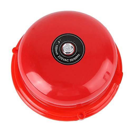 Campana de alarma industrial 100 dB, campana eléctrica de 100 dB, 4 pulgadas, campana eléctrica con percusión interna de acero inoxidable para alarma de incendio, descarga de emergencia (220 V)