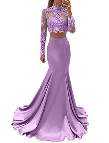 Meaningful Women's Long Sleeve Dress for Graduation High Neck Mermaid 2 Piece Prom Dresseses Size 10 Lavender