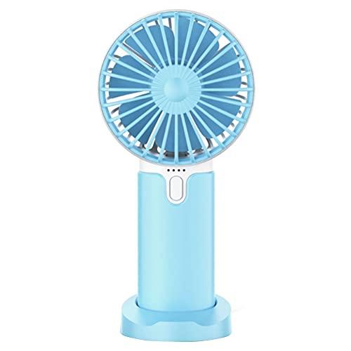 Mini ventilador de mano, mini ventilador de escritorio, 3 velocidades, batería recargable USB, 2400 mAh, ventilador silencioso de bolsillo con base azul