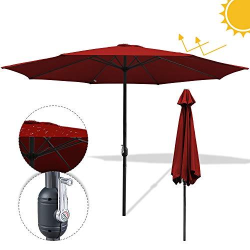 Hengda 3.5m Sonnenschirm Gartenschirm UV30+ Wasserabweisende UV-Schutz Rund Ampelschirm Farbwahl mit Handkurbel Marktschirm für Balkon, Terrasse & Garten