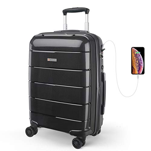 REYLEO Expandable Luggage 20 Inch PP Carry on Luggage Travel Suitcase with USB Charging Port Built-in TSA Lock 8 Silent Spinner Wheels Side Handle, Black