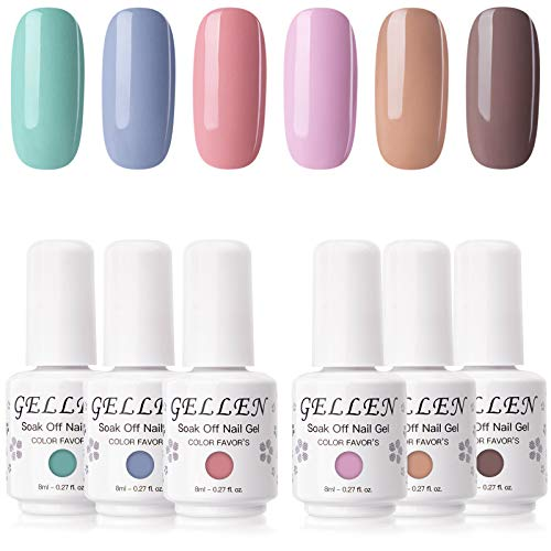 Gellen Gel Nail Polish Kit- Pastel Opaque 6 Colors Gel Polish , Popular Nail Art Colors Home Nail Gel Manicure Kit