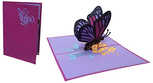 LIN 17658, Pop Up Karte Schmetterling, Pop Up Karte Geburtstag, Pop Up Geburtstagskarte, 3D Karten Natur, Geburtstagskarten, Muttertagskarten, Grußkarte Schmetterling, Lila, N384