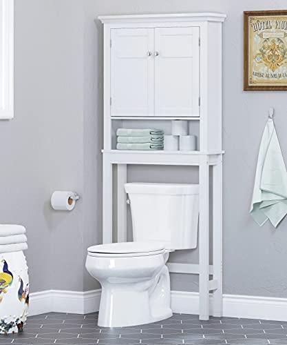 Spirich Home Bathroom Shelf Over-The-Toilet, Bathroom SpaceSaver, Bathroom Bathroom Storage Cabinet Organizer, White with Drawer