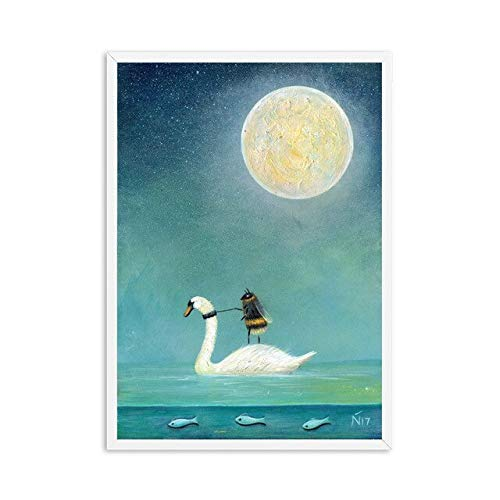 (Geen frame) 60x80CM Wall Art Prints Home Decor Canvas Schilderij Modulaire Foto Moderne Cartoon Bee Moon Fiets Nordic Aquarel Poster Living Roon