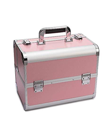 Valise de Maquillage Vanity-Case Professionnelle en Aluminium avec Serrure Délicate et Clé pour Studio de Beauté Boîte de Rangement,32x21x26cm,pink3