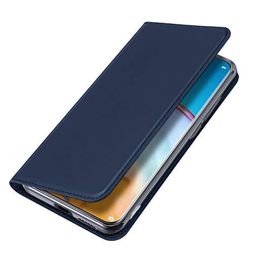 BRAND SET Hülle für Motorola One Hyper Brieftasche Ledertasche Flip Hülle PU Leder+TPU Material Schutzhülle mit Klapphalter Funktion Kartenschlitz unsichtbarer Magnetverschluss(Blau)
