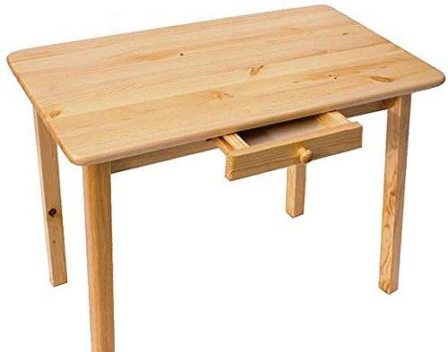 Esstisch mit Schublade Küchentisch Tisch Kiefer massiv Restaurant Neu 100 x 60 cm (Lackiert Kiefer)