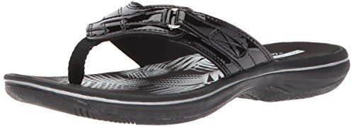 Clarks Women's Breeze Sea Flip Flop, black synthetic patent, 7 B(M) US