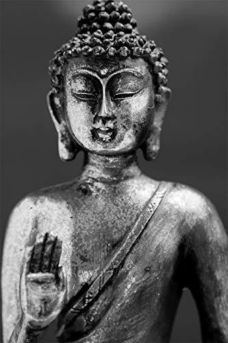 Bilderdepot24 Poster selbstklebend Buddha - die Erleuchtung - schwarz weiß 65x100 cm - Wandbild Wohnzimmer - Meditation Yoga