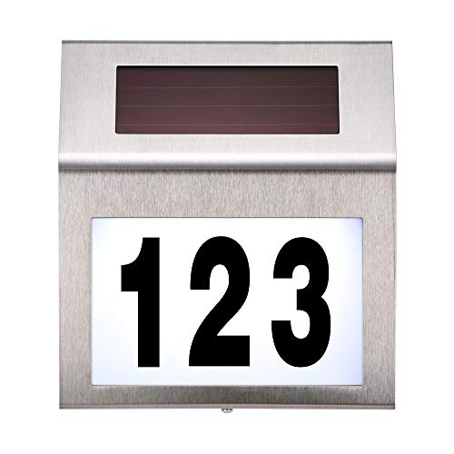 Sunsbell House Numbers Solar Powered Address Numbers Sign for Houses Stainless Steel House Number Plaque Light Up for Outdoor Yard Street