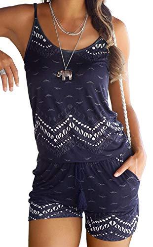 JFAN Mono de Una Pieza Camiseta sin Mangas con Estampado Floral para Mujer Pantalones de Verano Ropa de Playa Informal Ropa de Playa Elegante(Navy BLU,L)