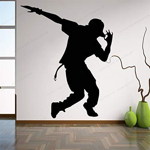 ASFGA Street Dance Wandtattoo Mann Hip Hop Wand Vinyl Aufkleber Musikstudio Wanddekoration Home Boy Schlafzimmer Wandkunst Wandbild 110x90cm