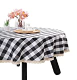 Nobildonna 70Inch Gingham Checkered Tablecloth, Black & White Checker, Round Lace Polyester Tablecloth