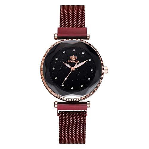 Simshew Fitness-Tracker Sternenhimmel Strass Frauen Mesh Strap magnetische Mode Uhr (rot) Herzfrequenz- und Schlafüberwachung