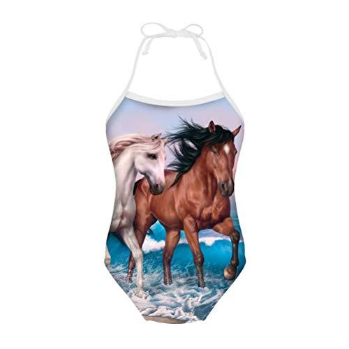 chaqlin Einteiliger Badeanzug für Kinder, Mädchen, Sommer, Strand, Urlaub, Mode, Bademode, Schnürung, für Alter 3–8 Jahre Gr. 7-8 Jahre, Paar Pferd