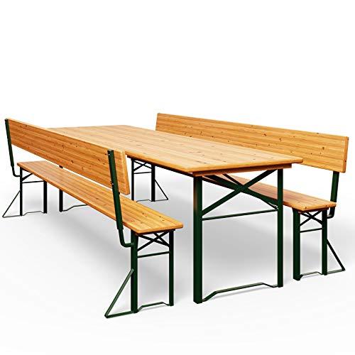 Bierzeltgarnitur mit Rückenlehne & breiter Tisch 170x70cm Holzgarnitur Bierzelt Festzeltgarnitur Sitzgruppe Sitzgarnitur