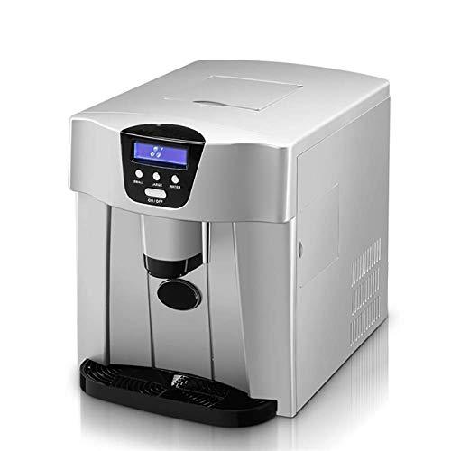 HIZLJJ Fabricadora de hielo de encimera, 9 cubos de hielo de bala listos en 6 minutos, hacen hielo de 15-20 kg en 24 hrs, tanque de agua 1.1L, máquina de hielo portátil con pantalla LED para hogar, fi